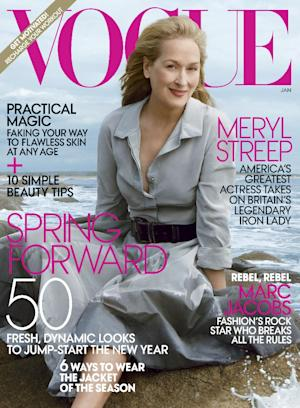 """In this cover image released by Vogue, actress Meryl Streep, star of the film """"The Iron Lady,"""" is shown on the cover of the January 2012 issue of """"Vogue."""" (AP Photo/Vogue)"""