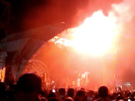 Two flares were thrown at the Soundwave festival, including one which badly burned a young reveller