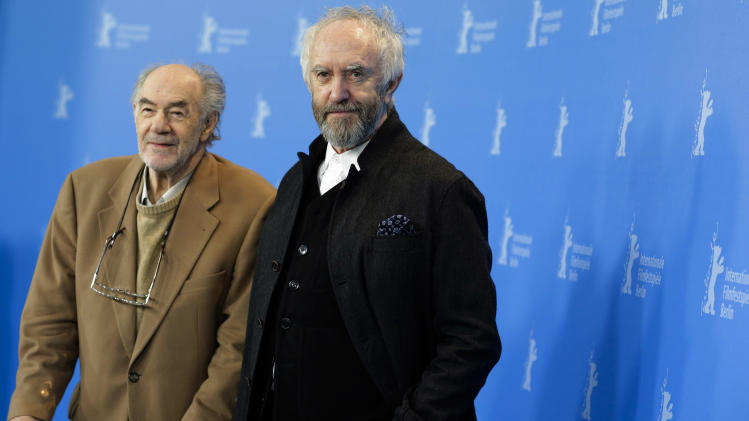 Director and producer George Sluizer and actor Jonathan Pryce pose at the photo call for the film Dark Blood at the 63rd edition of the Berlinale, International Film Festival in Berlin, Thursday, Feb. 14, 2013. (AP Photo/Markus Schreiber)