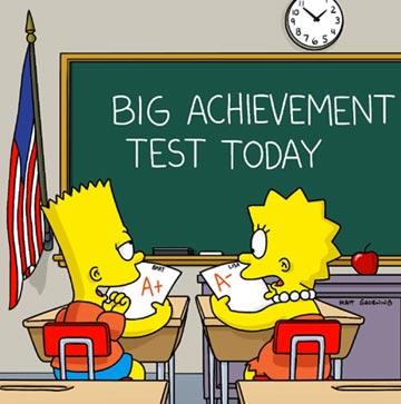 Bart (voiced by Nancy Cartwright) and Lisa (voiced by Yeardley Smith) compete in when in the same class in the episode 'Bart vs. Lisa vs. 3'rd Grade.' Fox's The Simpsons
