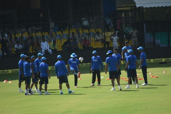 Indore: Indian cricket team during a practice session at Holkar Stadium in Indore, on Oct 13, 2015. (Photo: IANS)