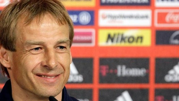 Bayern Munich's coach Juergen Klinsmann holds a news conference after their German Bundesliga first division soccer match against Schalke 04 in Munich April 25, 2009.