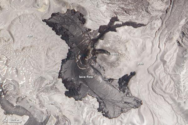 Puyehue-Cordón Caulle volcano and its obsidian lava flow, still going nearly a year after the volcano stopped erupting.