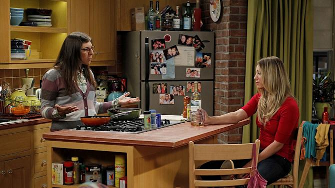 """""""The Skank Reflex Analysis"""" -- Amy (Mayim Bialik, left) and the gang deal with the aftermath of Penny (Kaley Cuoco, right) and Raj's night together, while Sheldon takes command of the paintball team, on the fifth season premiere of THE BIG BANG THEORY, Thursday, Sept. 22 (8:00-8:31 PM, ET/PT) on the CBS Television Network.   Photo: Cliff Lipson/CBS ©2011 CBS Broadcasting Inc. All Rights Reserved. Big Bang Theory"""