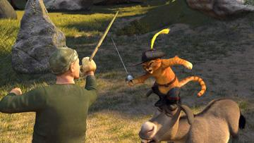Puss-in-Boots (voiced by Antonio Banderas ) and Donkey (voiced by Eddie Murphy ) in DreamWorks Animation's Shrek the Third