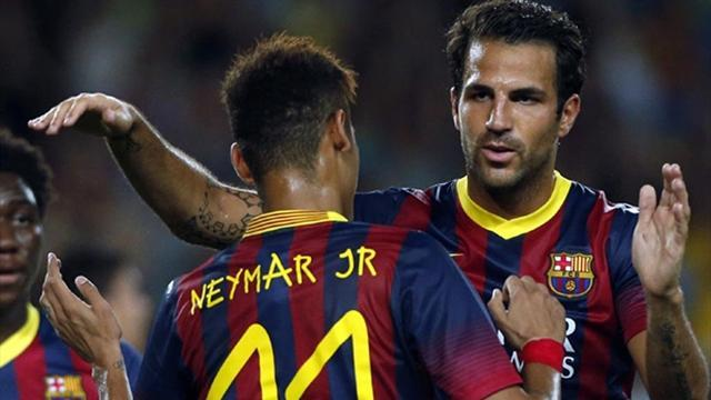 Liga - Barcelona put eight past Neymar's old club Santos