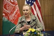 US Secretary of State Hillary Clinton speaks during the Afghan Civil Society event at the Okura Hotel Center in Tokyo. Clinton made a powerful plea for the rights of women in Afghanistan, using a global forum to insist that they must be part of the country's future growth