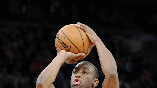 Charlotte Bobcats' Kemba Walkers shoots during the fourth quarter of an NBA basketball game against the New York Knicks on Tuesday, Nov. 5, 2013, at Madison Square Garden in New York. The Bobcats defeated the Knicks 102-97