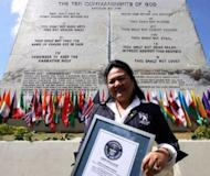 A building-sized edifice carved with the Bible's Ten Commandments was unveiled Wednesday in the Philippines, making it the largest tablet of its kind, according to Guinness World Records