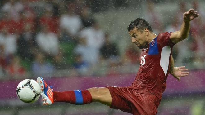 Czech Forward Milan Baros Controls AFP/Getty Images
