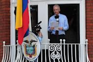 Wikileaks founder Julian Assange addresses the media from the balcony of the Ecuadorian Embassy in London in August 2012. Ecuador says it is prepared to shelter Assange inside its London embassy for years if necessary as it negotiates the WikiLeaks founder's fate with Britain and Sweden