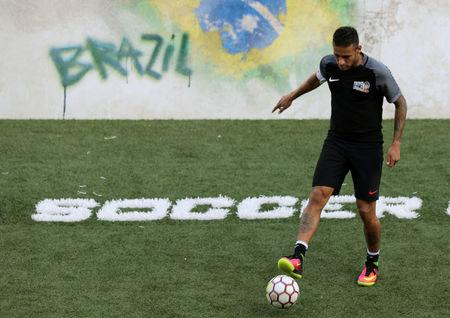 Barcelona's soccer player Neymar takes part in the Neymar Jr's Five soccer tournament in Santos