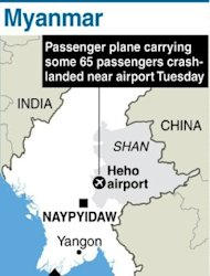 Graphic showing Myanmar's eastern Shan state, where a plane carrying 65 passengers crash-landed three kilometres away from Heho airport