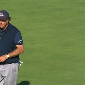 Phil Mickelson gets up and down for birdie at AT&T Pebble Beach