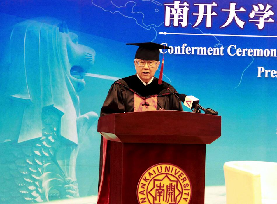 Singapore's President Tan speaks as he receives a honorable doctoral degree from Nankai University in Tianjin Municipality