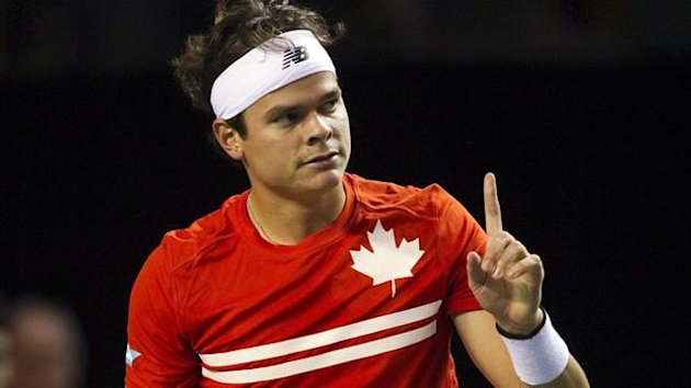 Canada's Milos Raonic reacts after winning a game (Reuters)