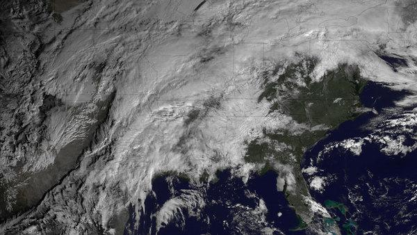 In this GOES East satellite image taken at 10:15 a.m. ET on Jan. 29, 2013, severe weather can be seeing brewing over the central portions of the United States.