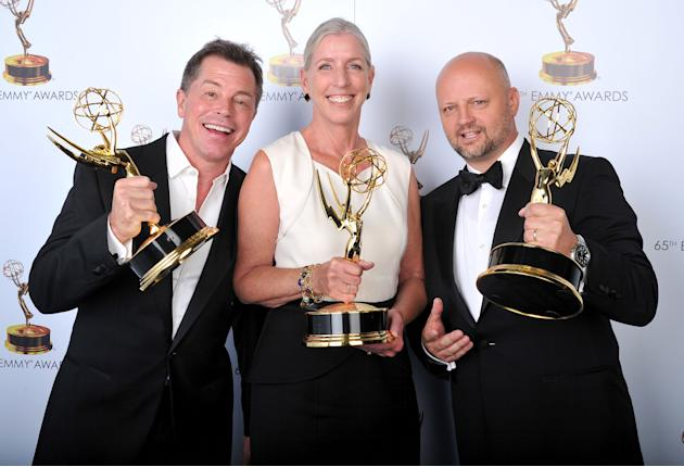 From left, Howard Cummings, Barbara Munch-Cameron, and Patrick Sullivan pose for a portrait at the 2013 Primetime Creative Arts Emmy Awards, on Sunday, September 15, 2013 at Nokia Theatre L.A. Live, i