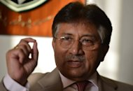 Pakistan's former military ruler Pervez Musharraf speaks during an interview with AFP at his residence in the Gulf emirate of Dubai on March 22, 2013. The Pakistani Taliban on Saturday threatened to assassinate Musharraf when he returns to the country to contest elections after nearly five years in self-imposed exile
