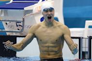 China's Sun Yang reacts after winning the men's 400m freestyle final swimming event at the London 2012 Olympic Games on in London