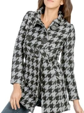 Belted houndstooth trenchcoat