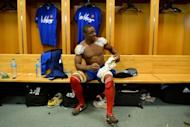 Yannick Nyanga in the locker room after their match against Australia. He spent five years on the sidelines because of a knee injury in 2009 and falling out of favour with France's coach from 2008 to 2011 the unpredictable Marc Lievremont