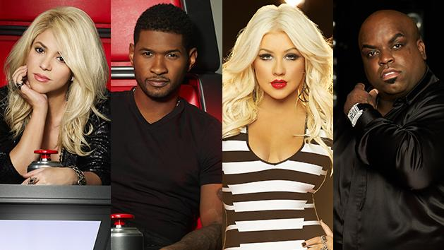 """The Voice"" judges Shakira, Usher, Christina Aguilera, and CeeLo Green"