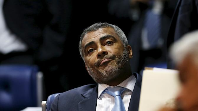 Former Brazil striker and current senator, Romario reacts during a session at the Brazilian Federal Senate in Brasilia