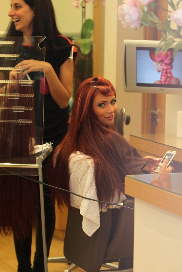 Amy Childs in the hairdressers