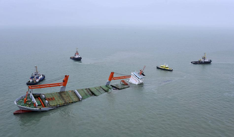 Dutch freighter Flinterstar is seen sinking after colliding with Marshall Island-flagged tanker Al-Oraiq  in the North Sea off the Belgian coast