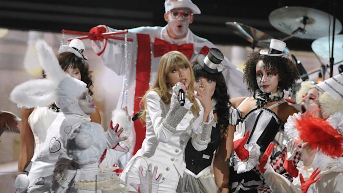 Taylor Swift performs on stage at the 55th annual Grammy Awards on Sunday, Feb. 10, 2013, in Los Angeles. (Photo by John Shearer/Invision/AP)