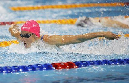 Belmonte of Spain swims to win the women's 200m butterfly event of the FINA Swimming World Cup at the Aquatic Centre in Singapore