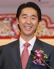 Photo handout shows Hyung Jin Moon, son of the late Unification Church founder Sun Myung Moon, in 2008. He succeeded his father as the church's most senior leader in 2008 at the age of 28