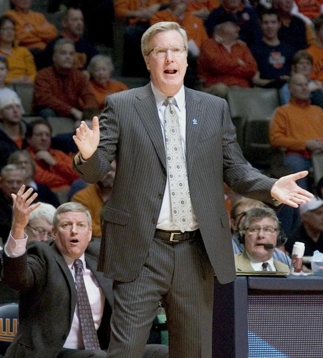 Iowa coach Fran McCaffery questions a call during an NCAA college basketball game against Illinois in Champaign, Ill., Saturday, Feb. 1, 2014. (AP Photo/Robin Scholz)