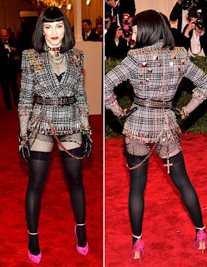 Madonna Wears Fishnet Body Stocking, Black Wig, Studded Jacket at Met Gala