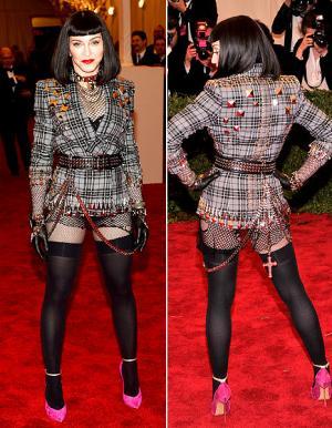 Madonna Wears Fishnet Body Stocking, Black Wig, Studded Jacket at Met Gala