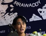 Myanmar democracy leader Aung San Suu Kyi speaks during the media launch of the Irrawaddy Literary Festival at a hotel in Yangon on January 6, 2013. Aung San Suu Kyi's opposition Monday said it plans to hold its first ever national conference next month, in the latest sign of the party's mainstream role after decades of repression under Myanmar's former junta