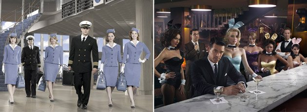 "The casts of ""Pan Am"" and ""The Playboy Club"" (Bob D'Amico/ABC, John Russo/NBC)"