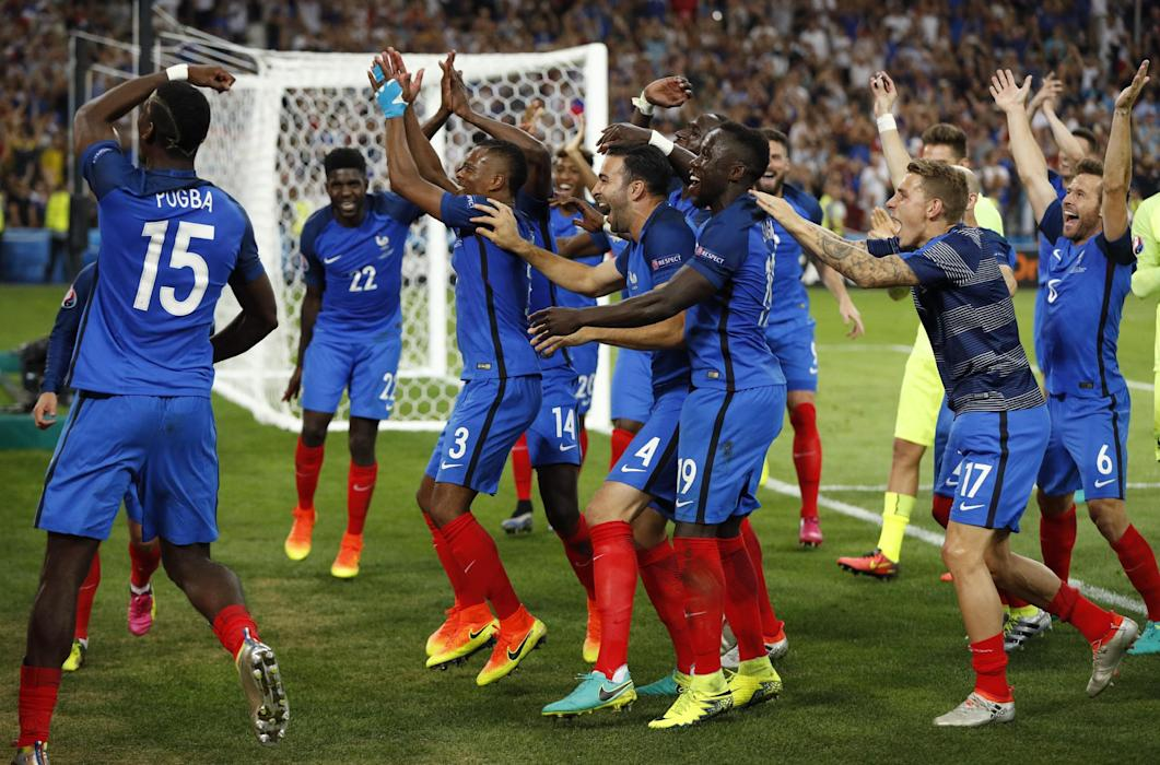 France players celebrate at the end of the match
