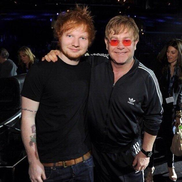 Backstage at the Grammys 2013: Ed Sheeran performed a duet with Elton John at the Grammys. He tweeted this photo of the pair in rehearsals before the live performance. Copyright [Ed Sheeran]