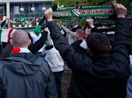 Fans of Legia Warsaw in Warsaw, 2011. Thirteen Poles have been arrested in Lithuania after trouble involving fans of Legia Warsaw bound for a Europa League match in Latvia