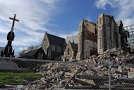 File photo shows the damaged Christchurch Cathedral in the New Zealand South Island city of Christchurch in September 2011. The 6.3-magnitude quake that killed 185 people in Christchurch in February last year lasted just 37 seconds and struck at a depth of about 5 km