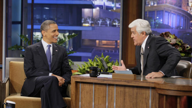 """In this photo provided by NBC, President Barack Obama appears on """"The Tonight Show"""" with Jay Leno Wednesday, Oct. 24, 2012, in Los Angeles. (AP Photo/NBC, Paul Drinkwater)"""