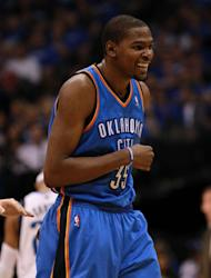 DALLAS, TX - MAY 03: Kevin Durant #35 of the Oklahoma City Thunder reacts against the Dallas Mavericks during Game Three of the Western Conference Quarterfinal at American Airlines Center on May 3, 2012 in Dallas, Texas. (Photo by Ronald Martinez/Getty Images)