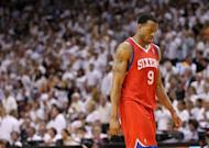 Andre Iguodala, pictured here in April 2011, scored 20 points to power the Philadelphia 76ers over the Indiana Pacers 96-86 in an NBA matchup of Eastern Conference contenders