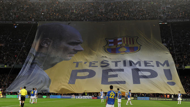 """""""We Love You Pep!"""" Is Diplayed In Tribute To Barcelona's Coach Josep Guardiola Guardiola For His Four Seasons As Coach AFP/Getty Images"""