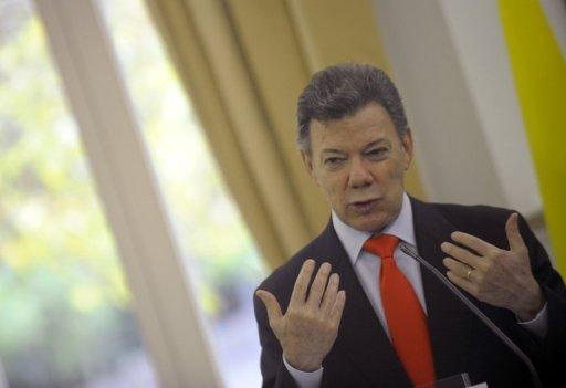 Colombian President Juan Manuel Santos, pictured on November 15, put the country's Marxist FARC rebels on warning Sunday that they have until November 2013 to strike a peace deal under recently opened peace talks.