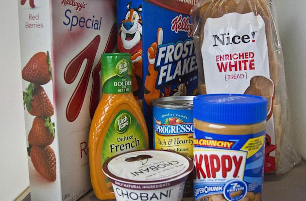 Foods that might have added sugar or another sweetener like high-fructose corn syrup as an ingredient are pictured Wednesday, March 4, 2015, in New York. New guidelines published by the World Health O