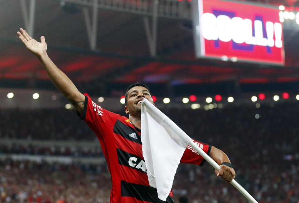 Andre Santos of Brazil's Flamengo celebrates after scoring against Mexico's Leon during the Copa Libertadores soccer match in Rio de Janeiro