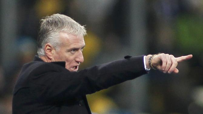 France's coach Didier Deschamps gestures during the 2014 World Cup qualifying first leg playoff soccer match against Ukraine at the Olympic stadium in Kiev